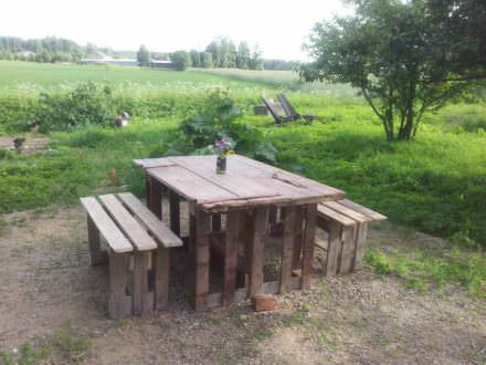 Garden Table & Benches From Repurposed Pallets