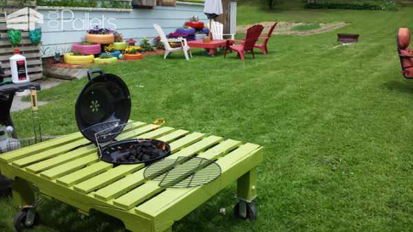 grill-table - Grill/Fire Pit Table Made Out Of Repurposed Pallet • 1001 Pallets
