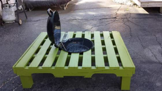 Grill Fire Pit Table Made Out Of Repurposed Pallet 1001
