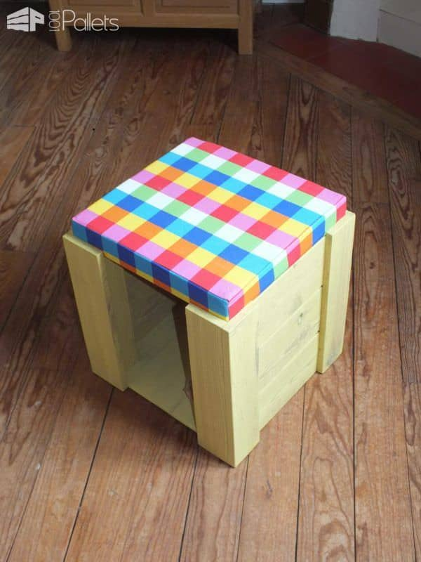 Kid's Stools To Play & Seat Fun Pallet Crafts for KidsPallet Benches, Pallet Chairs & Stools