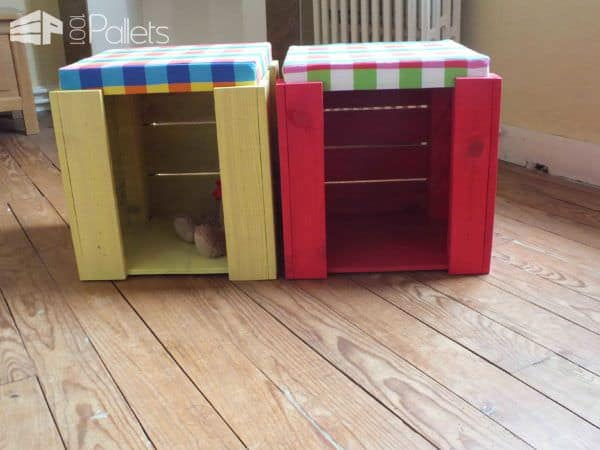 Kid's Stools To Play & Seat Fun Pallet Crafts for Kids Pallet Benches, Pallet Chairs & Stools