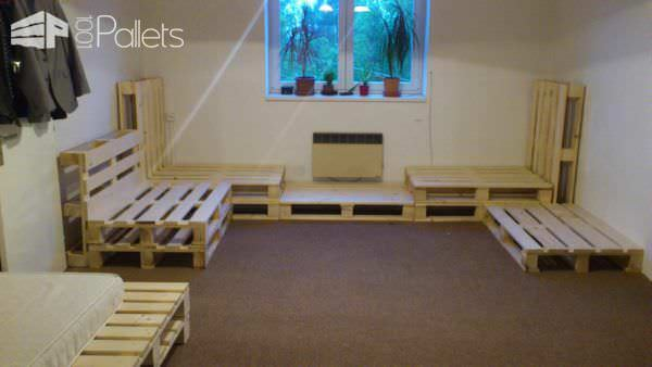 Living Room Installation Made Out Of Repurposed Pallets Pallet Benches, Pallet Chairs & Stools
