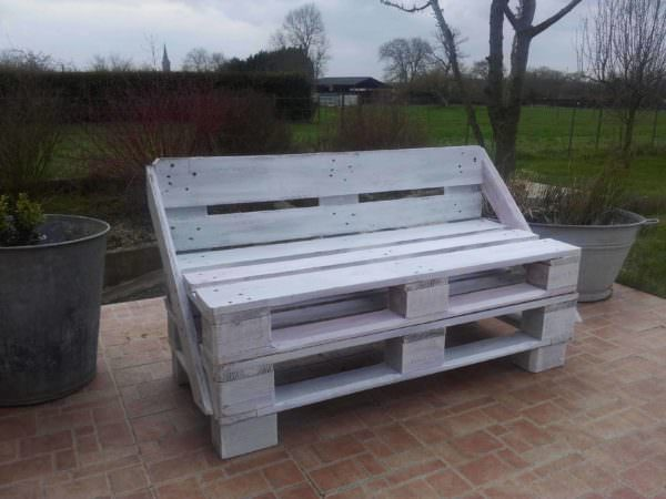 My First Pallet Bench Made From Two Reclaimed Pallets Pallet Benches, Pallet Chairs & Stools