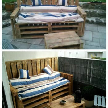 Pallets Terrace Bench & Table - Terrasse D'appartement En Palettes
