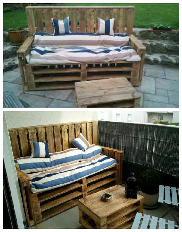 pallets terrace bench table terrasse d 39 appartement en palettes 1001 pallets. Black Bedroom Furniture Sets. Home Design Ideas