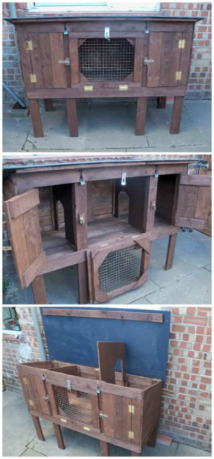 Recycled Pallet Rabbit Hutch