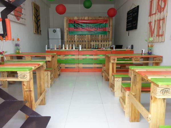 Salad Bar Pallet Furniture Pallet Store, Bar & Restaurant Decorations