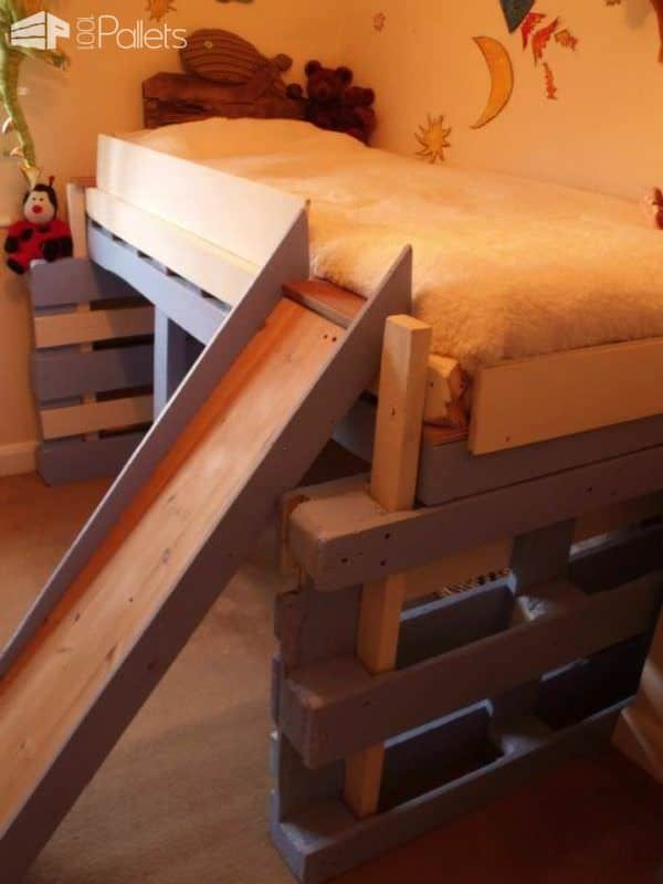 Salvaged Bed for Toddlers Made With Repurposed Pallets DIY Pallet Bedroom - Pallet Bed Frames & Pallet Headboards Fun Pallet Crafts for Kids
