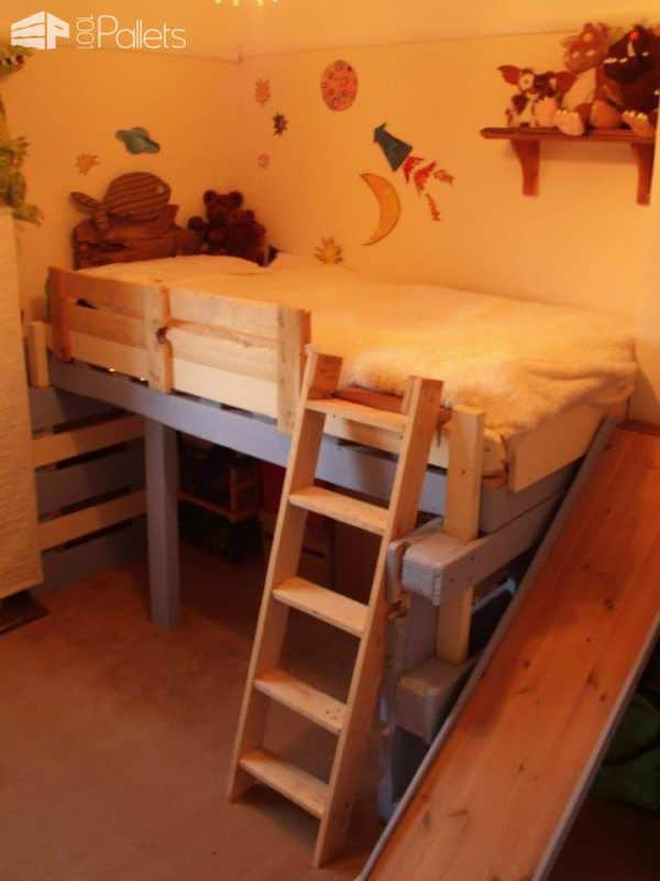 Salvaged Bed for Toddlers Made With Repurposed Pallets DIY Pallet Bed Headboard & FrameFun Pallet Crafts for Kids
