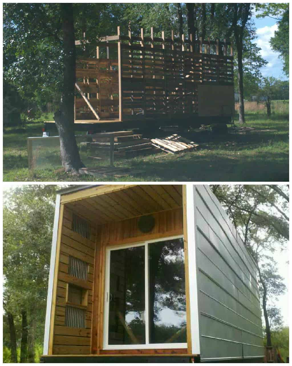 Tiny house on wheels pallet stud walls 1001 pallets for Pallet wall on wheels