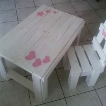 Toddler Chair & Table Made Out Of Repurposed Pallets