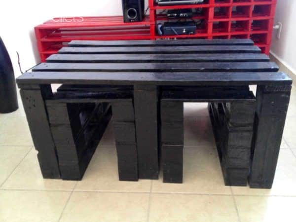 Tv & Coffee Table With Benches Pallet Coffee Tables Pallet TV Stand & Rack