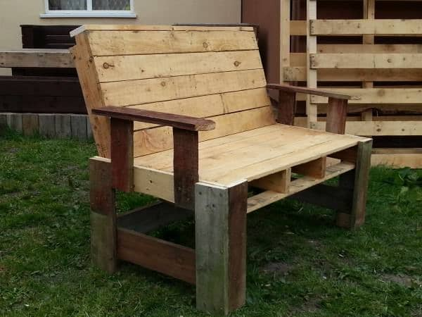 Two seater garden bench from pallets 1001 pallets - Garden bench out of pallets ...
