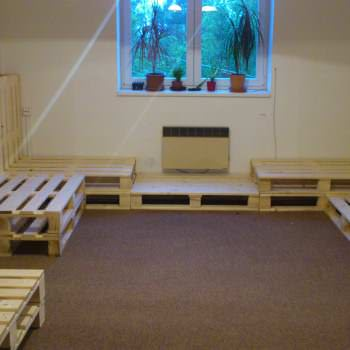Living Room Installation Made Out Of Repurposed Pallets