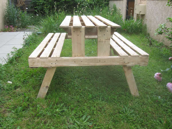 L600IMG 0485 Picnic table made with pallets for our garden in pallet garden pallet furniture  with Table Pallets Garden DIY Bench
