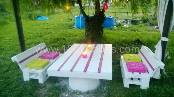 WP 20130504 014 600x337 Pallets Garden set / Salon de jardin en palettes in pallet garden  with Table Pallets Garden Bench