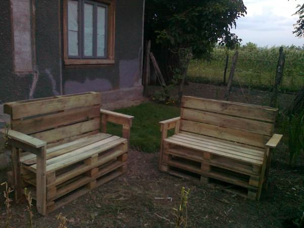 fotografie0041 600x450 Garden benches from pallets in pallet outdoor project  with pallet Outdoor Bench