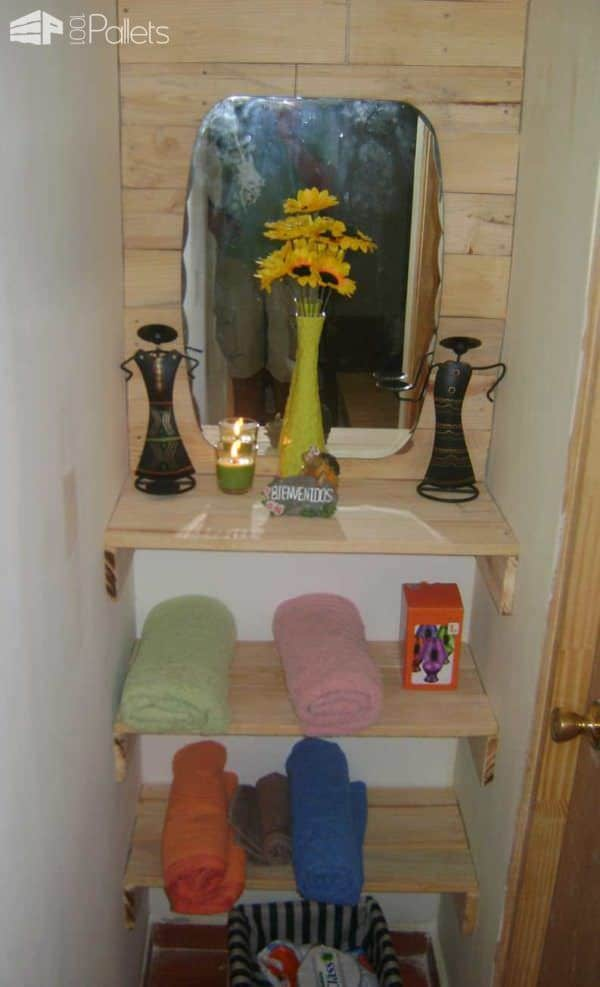 Bathroom Entrance With Repurposed Pallets Pallet Shelves & Pallet Coat Hangers