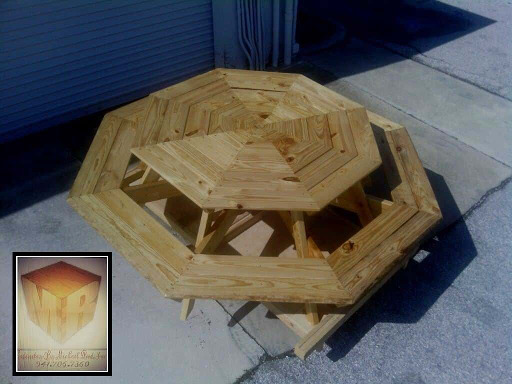 Pallet octagon table 1001 pallets for Table exterieur palette