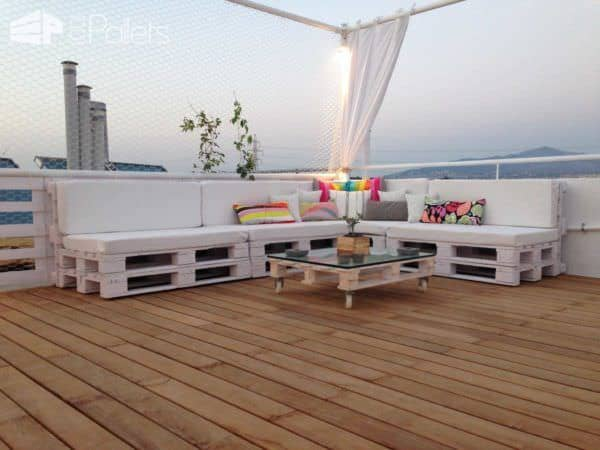 Pallet Roof Terrace Lounge Lounges & Garden Sets Pallet Terraces & Pallet Patios