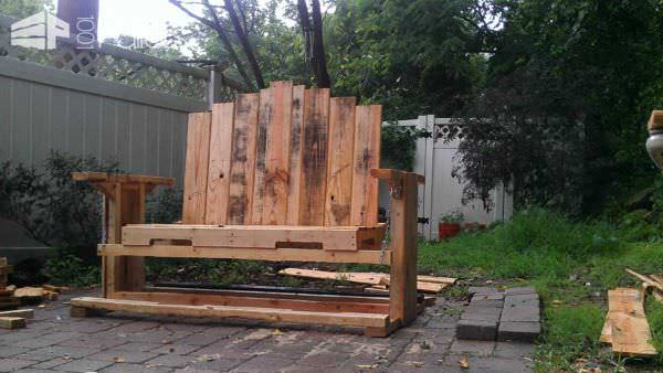 Swinging Bench From Discarded Pallet Wood Pallet Benches, Pallet Chairs & Stools