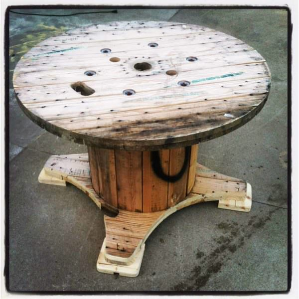 Table Made Out A Discarded Wire Spool Pallet Desks & Pallet Tables