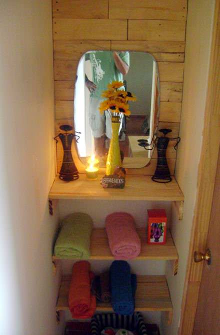 Bathroom entrance with pallets