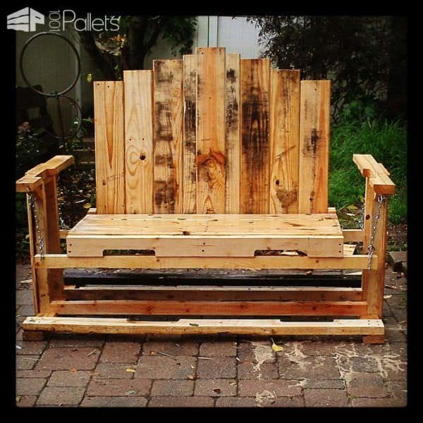 Swinging Bench From Discarded Pallet Wood Pallet Benches, Pallet Chairs & Pallet Stools