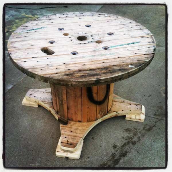 Table Made Out A Discarded Wire Spool Lounges & Garden Sets Pallet Desks & Pallet Tables