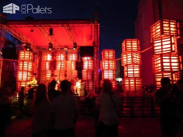 Huge Lights For a Summer Festival Made From Recycled Pallets Pallet Lamps, Pallet Lights & Pallet Lighting
