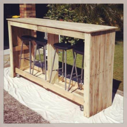 Mobile Outdoor Bar From Recycled Pallets