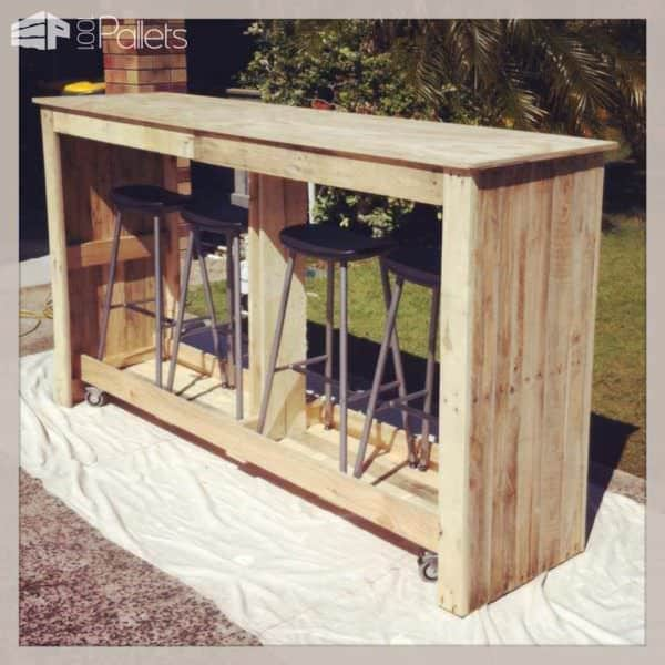Mobile Outdoor Bar From Recycled Pallets DIY Pallet Bars