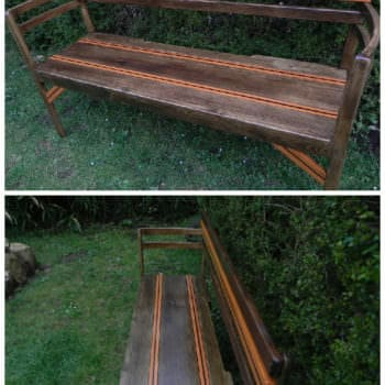 My Garden Bench Made From Pallet Boards & Two Old Chairs