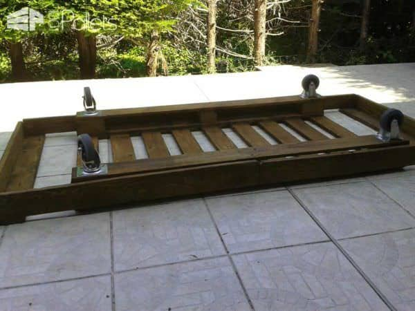 Outdoor Mobile Pallet Bed DIY Pallet Bed Headboard & Frame