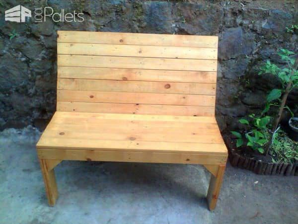 Pallet Garden Bench With Teak Wood Stain Finish Pallet Benches, Pallet Chairs & Stools