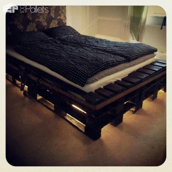 Pallets Bed With Lights O 1001 Pallets