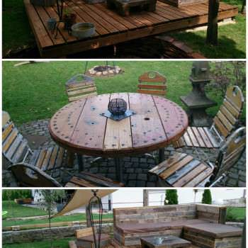 Pallet deck and lounge area / die Benkers