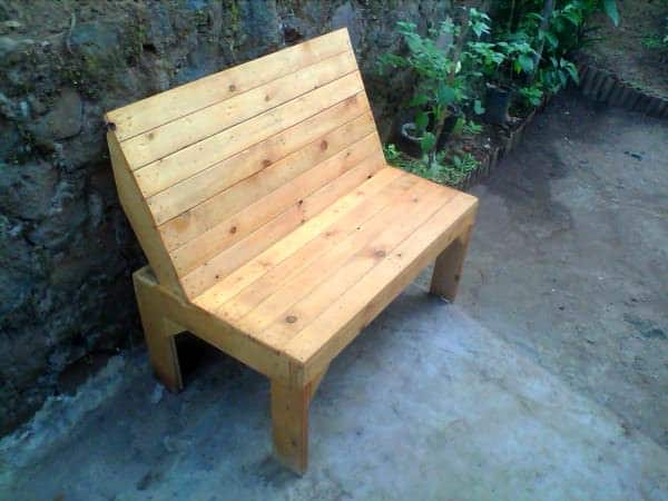 Garden Bench With Teak Wood Stain Finish Lounges & Garden Sets Pallet Benches, Pallet Chairs & Pallet Stools