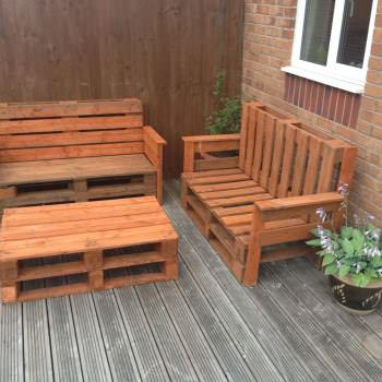 Garden benches and table