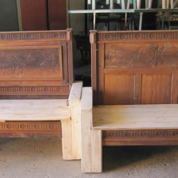 Old Bed Transformed Into Benches Using Pallets