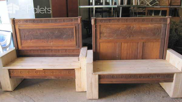 Old Bed Transformed Into Benches Using Pallets Pallet Benches, Pallet Chairs & Pallet Stools