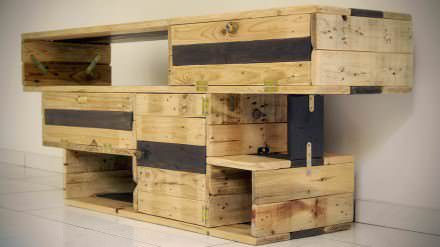 Meuble TV Design / TV Stand 100% pallets wood