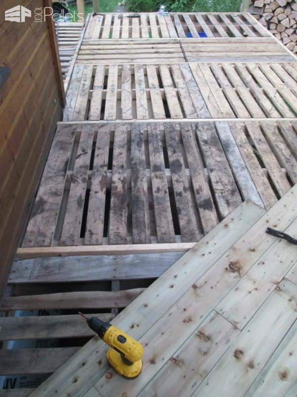 Balcony Frame With Recycled Pallets Pallet Flooring Pallet Terraces & Pallet Patios