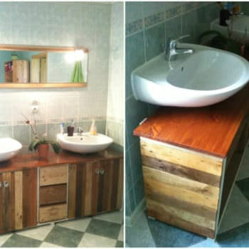 Bathroom Pallet & Wine Boxes Furniture / Meuble De Salle De Bain