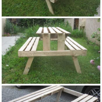 Garden Picnic Table Made With Discarded Pallets