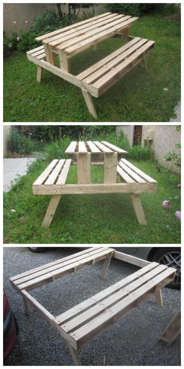 Garden Picnic Table Made With Discarded Pallets 1001 Pallets