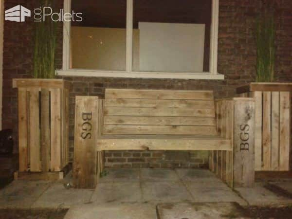 Lounge Bench & Two Large Planter Boxes Made Of Recycled Pallet Wood Pallet Benches, Pallet Chairs & Stools Pallet Planters & Compost Bins