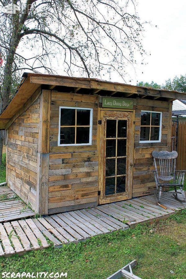 Pallet Garden Shed Roofed Using Tin Cans Pallet Sheds, Pallet Cabins, Pallet Huts & Pallet Playhouses
