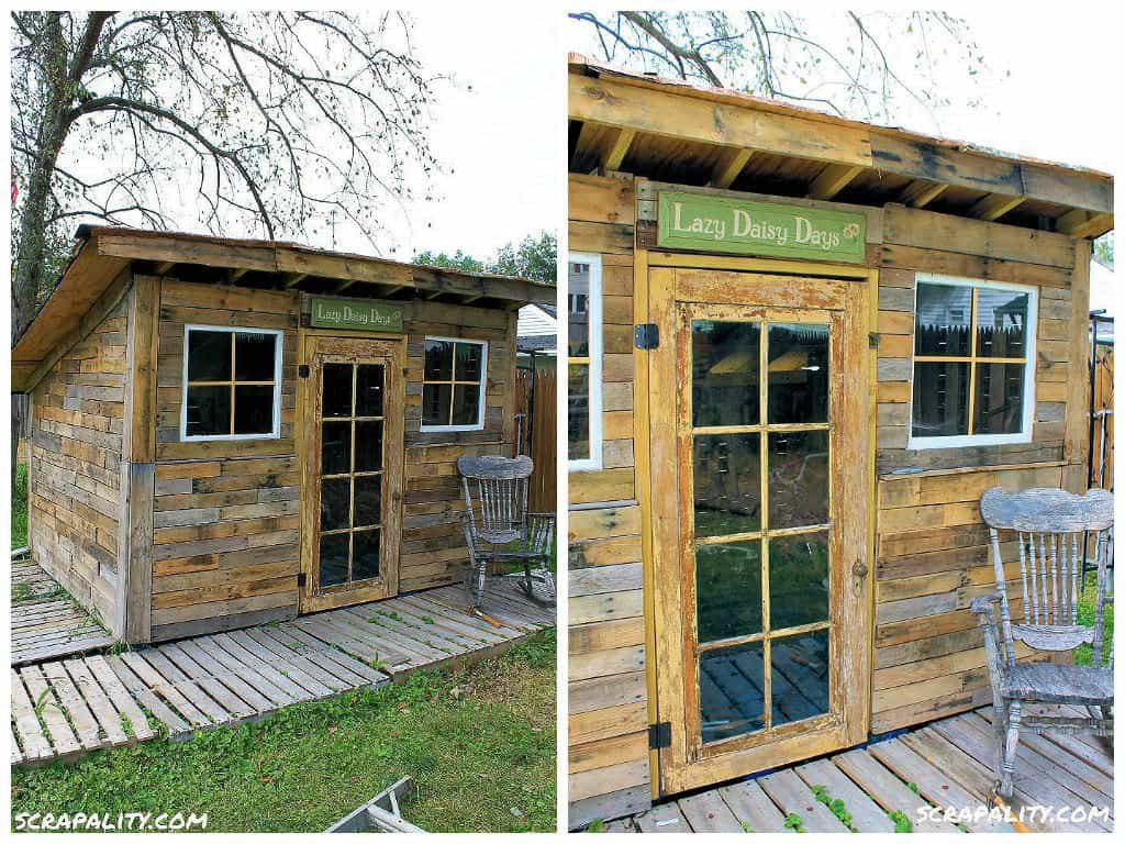 Pallet Garden Shed Roofed Using Tin Cans • Pallet Ideas • 1001 ...