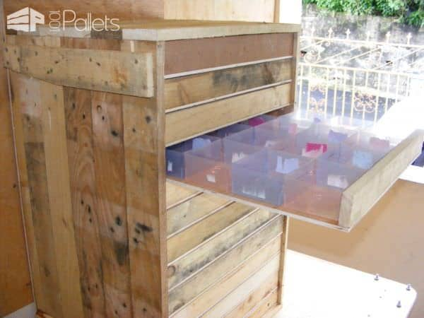 Pallet Tool Trolley / Servante D'atelier Pallet Cabinets & Wardrobes
